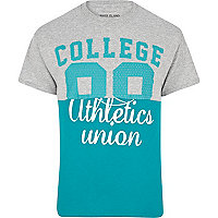 Grey varsity print two-tone t-shirt