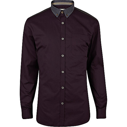 Purple two-tone long sleeve shirt