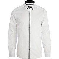 White contrast stripe placket shirt