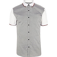 Grey colour block polo sleeve shirt
