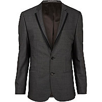 Grey contrast trim slim suit jacket