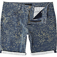 Navy oriental print turn up shorts