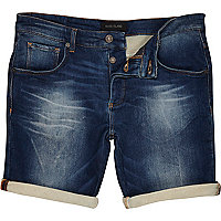 Mid wash stretch denim shorts