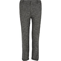 Black textured skinny ankle grazer trousers