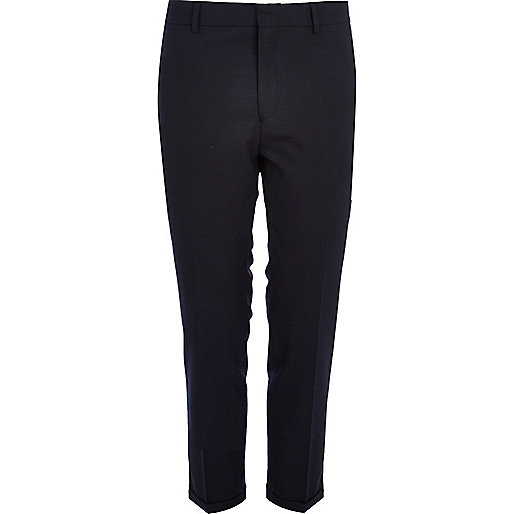 Navy ankle grazer smart trousers