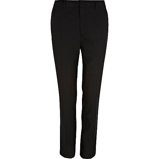 Black polka dot skinny smart pants
