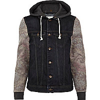 Dark wash tapestry sleeve hooded denim jacket