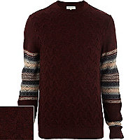 Red fairisle sleeve textured jumper