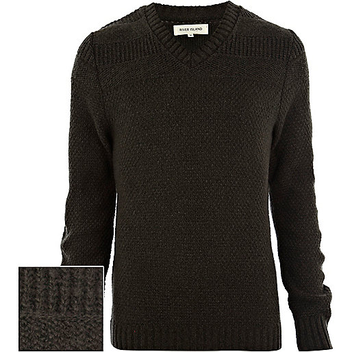 Green textured V neck jumper