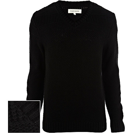 Black textured V neck jumper