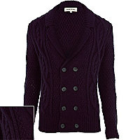 Purple cable knit double breasted cardigan