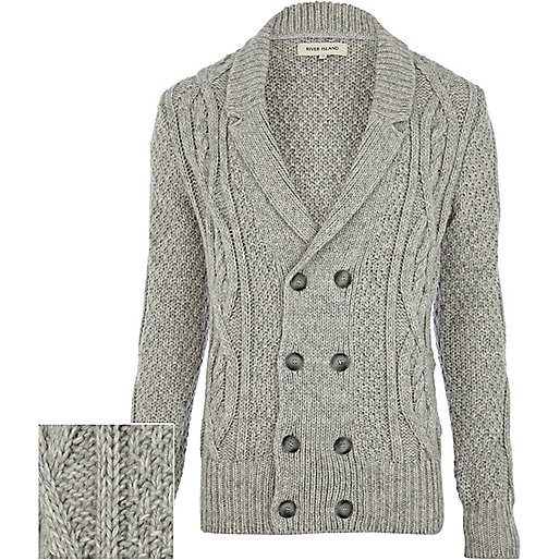 Grey cable knit double breasted cardigan