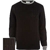 Black cable knit contrast trim jumper
