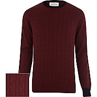 Dark red cable knit contrast trim jumper