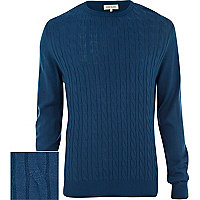 Blue cable knit lightweight jumper