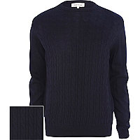 Navy cable knit lightweight jumper