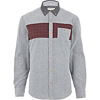 Grey check stripe contrast collar shirt