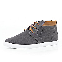 Grey denim desert boots