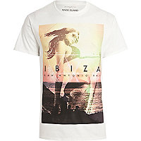 White Ibiza girl print t-shirt