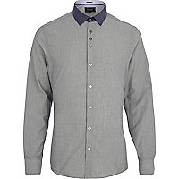 Grey contrast collar shirt