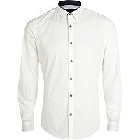 White stretch-cotton long sleeve shirt