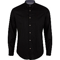 Black stretch-cotton long sleeve shirt
