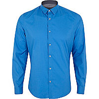 Bright blue stretch-cotton long sleeve shirt