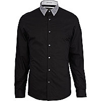 Black contrast collar shirt