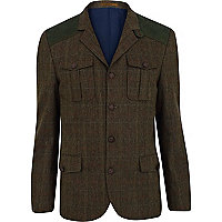 Khaki green check shoulder patch blazer