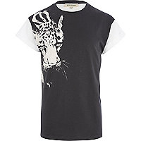 Black placement leopard print t-shirt
