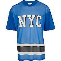 Blue mesh NYC print oversized t-shirt