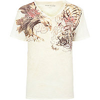 Ecru eagle tiger print low scoop t-shirt
