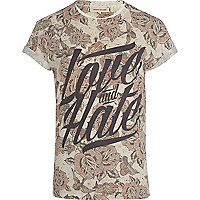Ecru floral love and hate print t-shirt