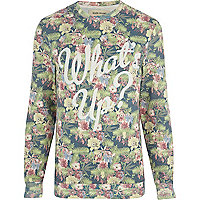 Ecru floral what's up print sweatshirt
