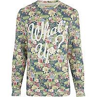 Ecru floral what's up print sweatshirt