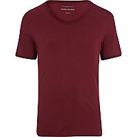 Dark red low scoop neck t-shirt