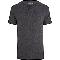 Dark grey marl grandad t-shirt