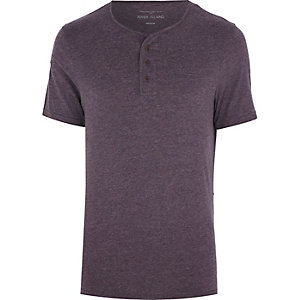Purple marl grandad t-shirt