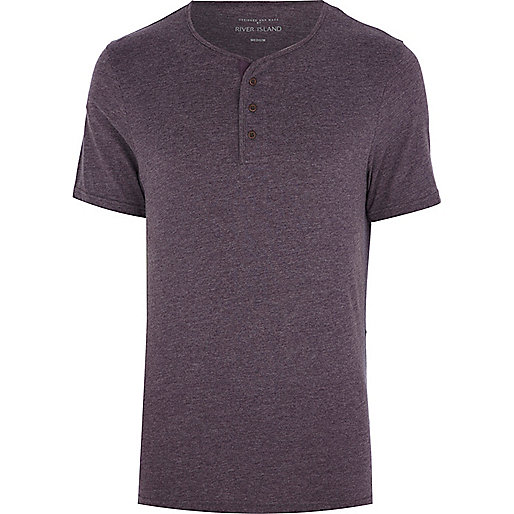 Purple marl grandad t-shirt