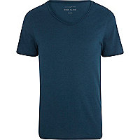 Teal blue low scoop t-shirt