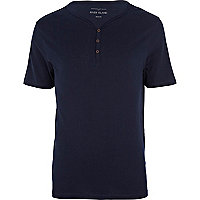 Navy blue grandad t-shirt
