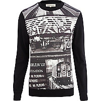 Black Brooklyn print neoprene sweatshirt