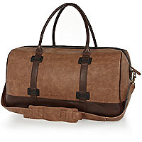 Light brown two-tone handle holdall