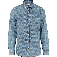 Light wash square print denim shirt