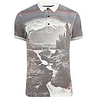 Grey landscape print polo shirt