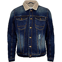 Dark wash borg collar denim jacket