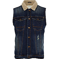 Dark wash borg collar denim gilet