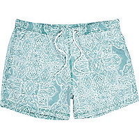 Light green paisley short swim shorts