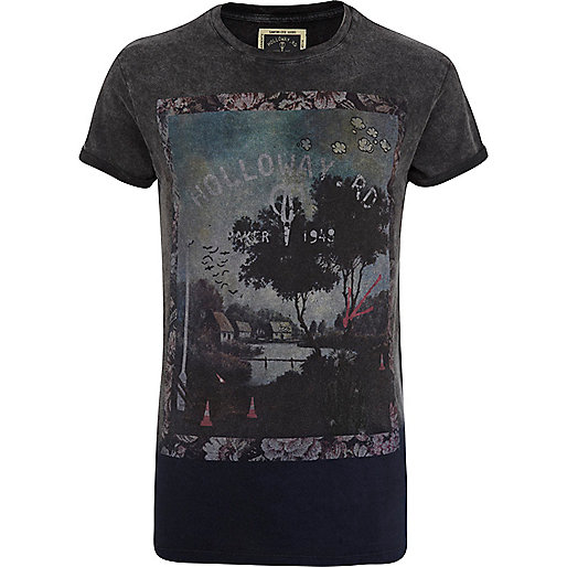 Grey Holloway Road dip dye print t-shirt