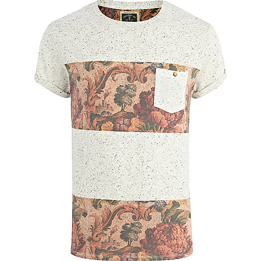 Ecru Holloway Road floral stripe t-shirt